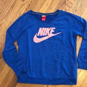 Royal blue with coral logo Nike crew sweatshirt